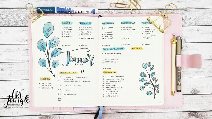 Bullet Journal Woche Januar Weekly 2 - Wochenübersicht - Doodle leaves watercolor