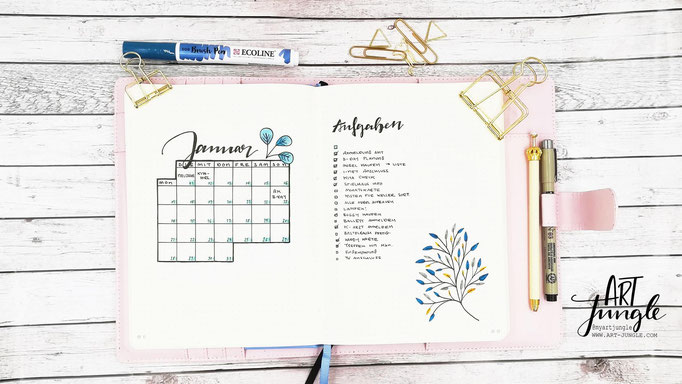 Januar Bullet Journal Monat Monthlyspread bruspen Leaves Blätter
