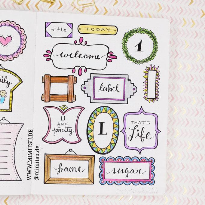 Doodle Illustration Bullet Journal und Sketchnotes Frames Rahmen 3