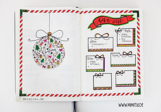 Bullet Journal Collections Beispiel Weihnachten Giftlist