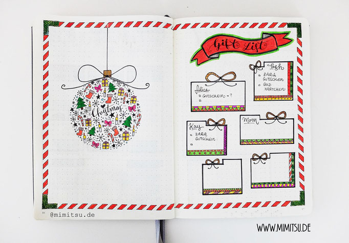 Bullet Journal Collections Beispiel Weihnachten Giftlist