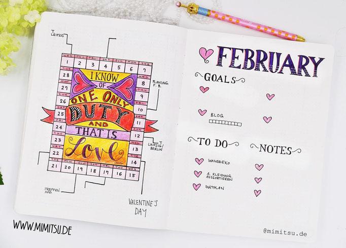 Februar Bullet Journal Monat Monthly Valentinstag