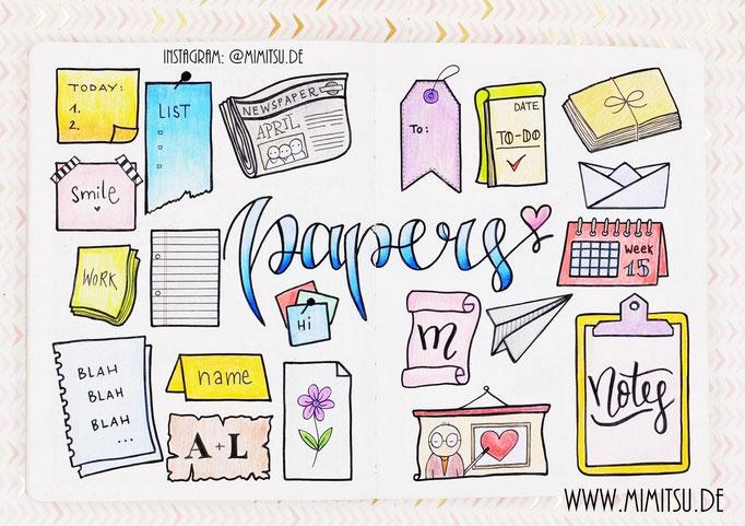 Doodle Illustration Bullet Journal und Sketchnotes Papers Papier