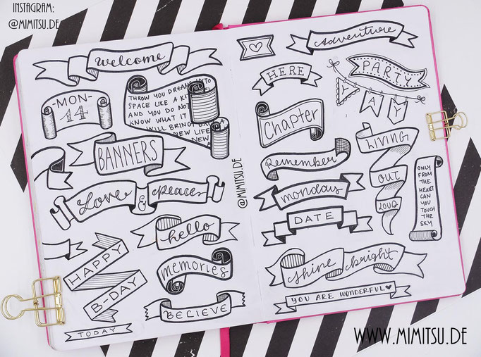 Doodle Illustration Bullet Journal und Sketchnotes Banners