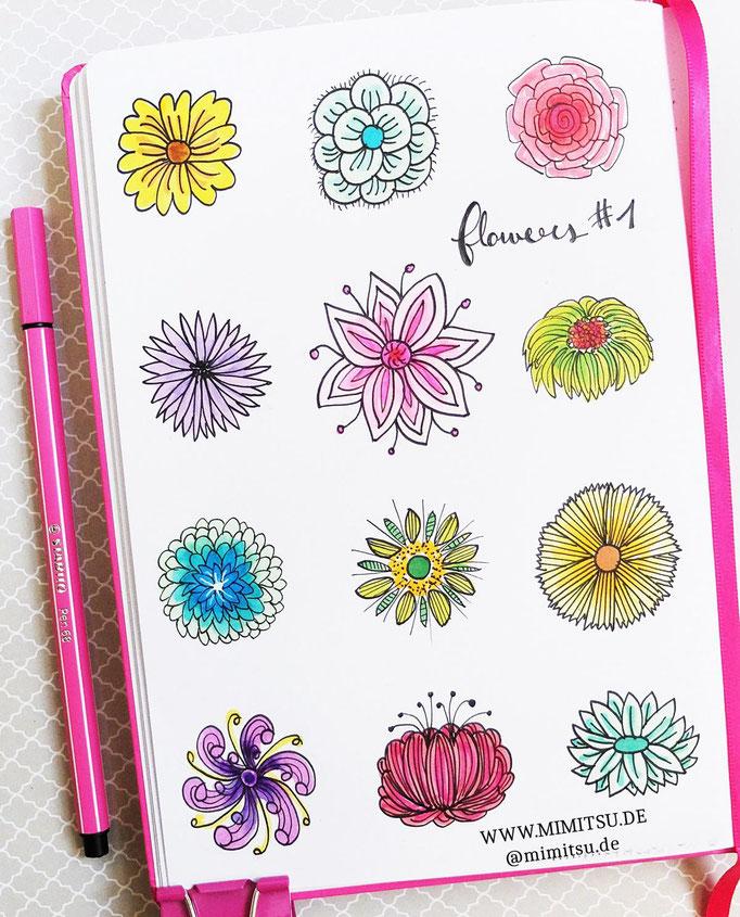 Doodle Illustration Bullet Journal und Sketchnotes Blumen Flowers