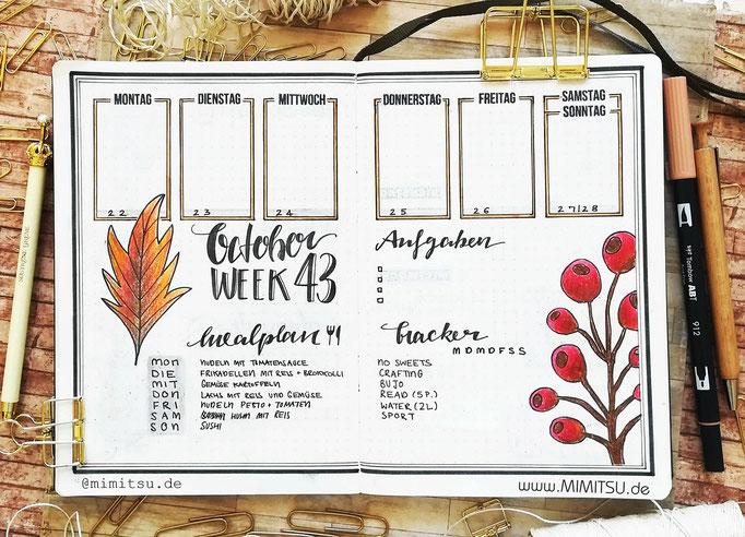 Bullet Journal Woche Oktober Herbst Weekly 4 - Wochenübersicht