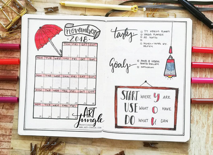 November Bullet Journal Monat Monthlyspread  umbrella Regenschirm