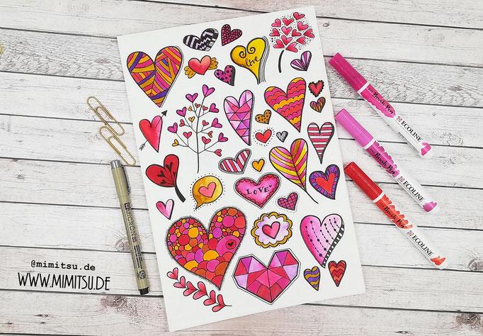 Doodle Illustration Bullet Journal und Sketchnotes Hearts Herzen
