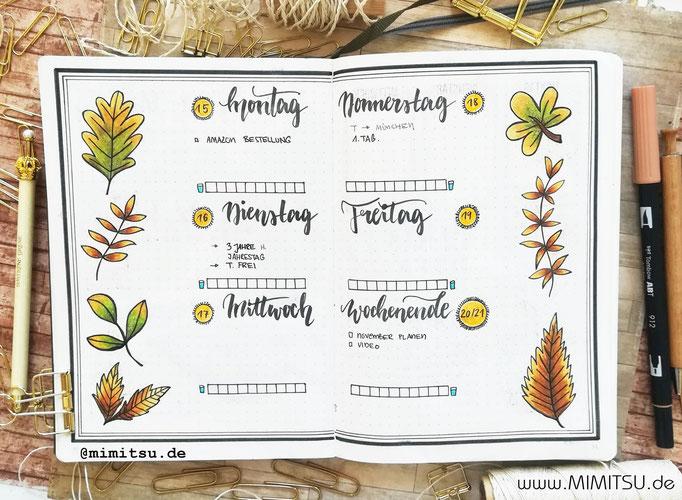 Bullet Journal Woche Oktober Herbst Weekly 3 - Wochenübersicht