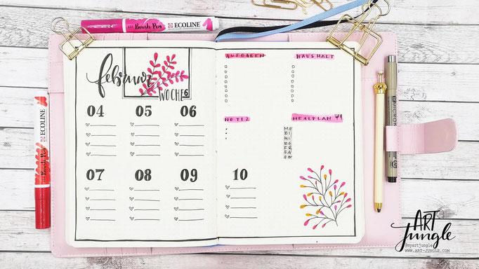 Bullet Journal Woche Februar Weekly 1 - Wochenübersicht - Doodle Valentinstag
