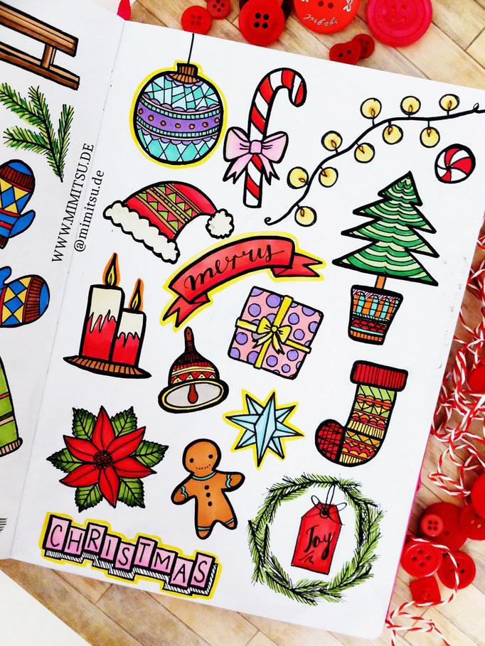 Doodle Illustration Bullet Journal und Sketchnotes Christmas Weihachten Winter