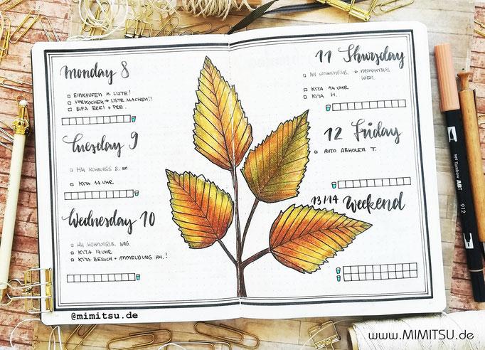 Bullet Journal Woche Oktober Herbst Weekly 2 - Wochenübersicht