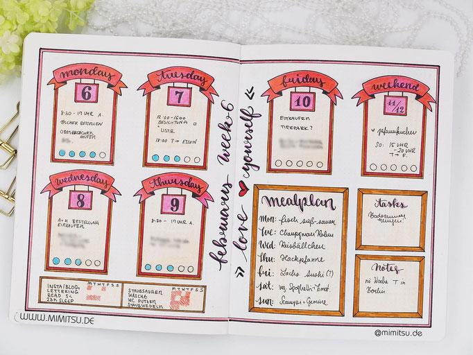Bullet Journal Woche Februar Weekly 2 - Wochenübersicht