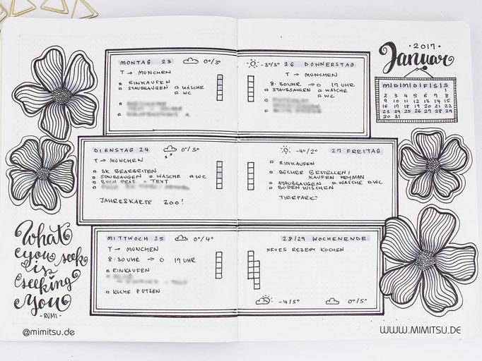 Bullet Journal Woche Januar Weekly 1 - Wochenübersicht