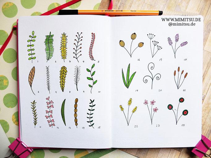 Doodle Illustration Bullet Journal und Sketchnotes Blätter Pflanzen Leaves