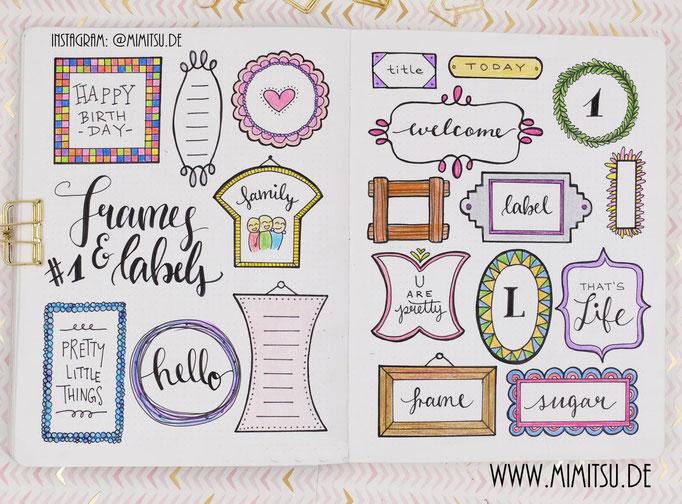 Doodle Illustration Bullet Journal und Sketchnotes Frames Rahmen 1