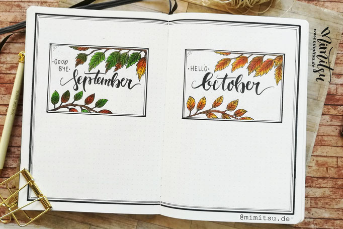 Bullet Journal Cover Title Monat September Oktober 2018