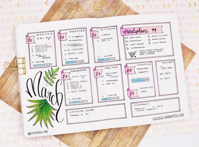 Bullet Journal Woche März Weekly 2 - Wochenübersicht