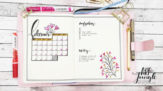 Februar Bullet Journal Monat Monthlyspread bruspen valentine