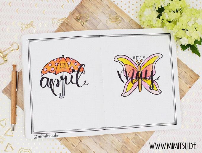Bullet Journal Cover Title Monat April Mai