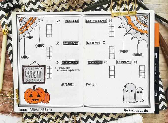 Bullet Journal Woche Oktober Halloween Weekly - Wochenübersicht