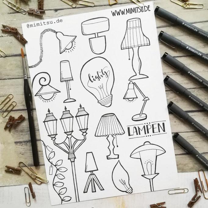 Doodle Illustration Bullet Journal und Sketchnotes Lamps Lampen
