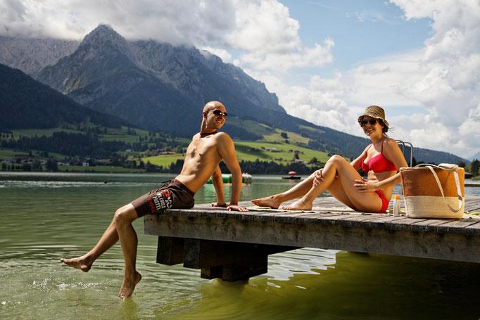 Bild: Schwimmen im Walchsee Sommerurlaub