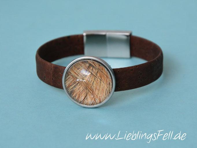 Braunes Korkarmband mit Edelstahlfassung (22mm) und Magnetverschluß aus Edelstahl (auch in schwarz möglich) - 59€ - (Bild A4)
