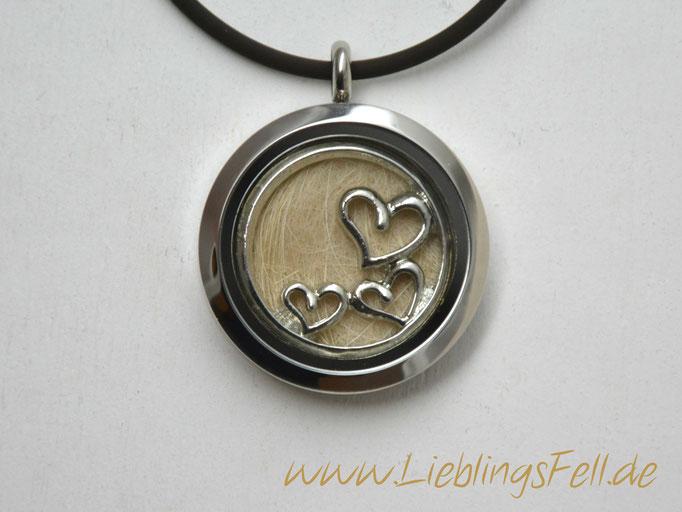 Edelstahl-Amulett (3 cm) mit glänzendem Rand mit einer Kette aus braunem Kautschuk (die Kette ist frei wählbar, das Amulett ist auch mit diamantiertem Rand möglich) - 59€ - (Bild K12)
