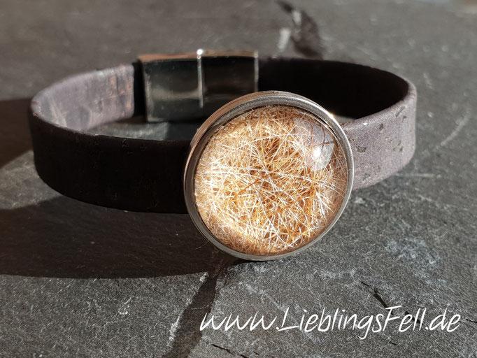 Schwarzes Korkarmband mit Edelstahlfassung (22mm) und Magnetverschluß aus Edelstahl (in Wunschlänge, auch in braun möglich) - 59€ - (Bild A10)
