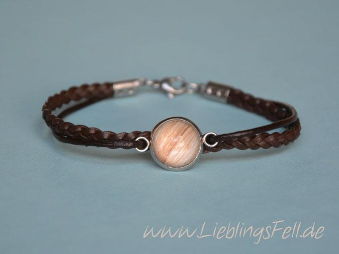 Schmales, braunes Armband mit geflochtenem Leder mit Fassung (16mm) und Verschluß aus Edelstahl - 44€ - (Bild A11)