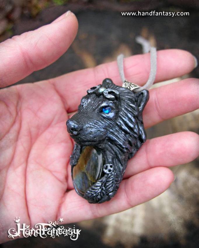 Colgantes de Lobos, Colgante cabeza de Lobo, Tótem Lobo colgante, lobo negro colgante, lobo blanco colgante