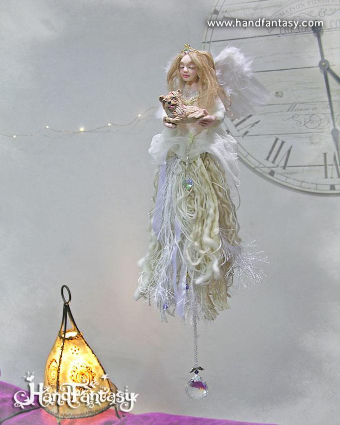 Arcángel Ariel protector de las mascotas, figura de ángel con mascota, ángeles de luz, figuras de arcangeles, ángeles para colgar, móviles de ángeles para colgar