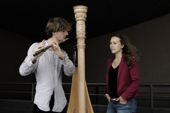Duo flûte et harpe avec Samuel Bricault © Agne Keblyte 2015