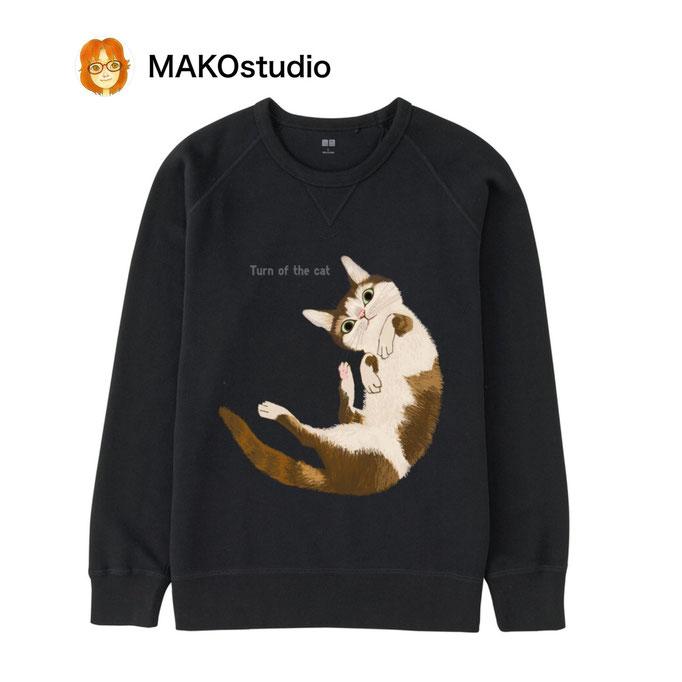 ユニクロUTme Tシャツ/サイズ、色が選べます。猫回転