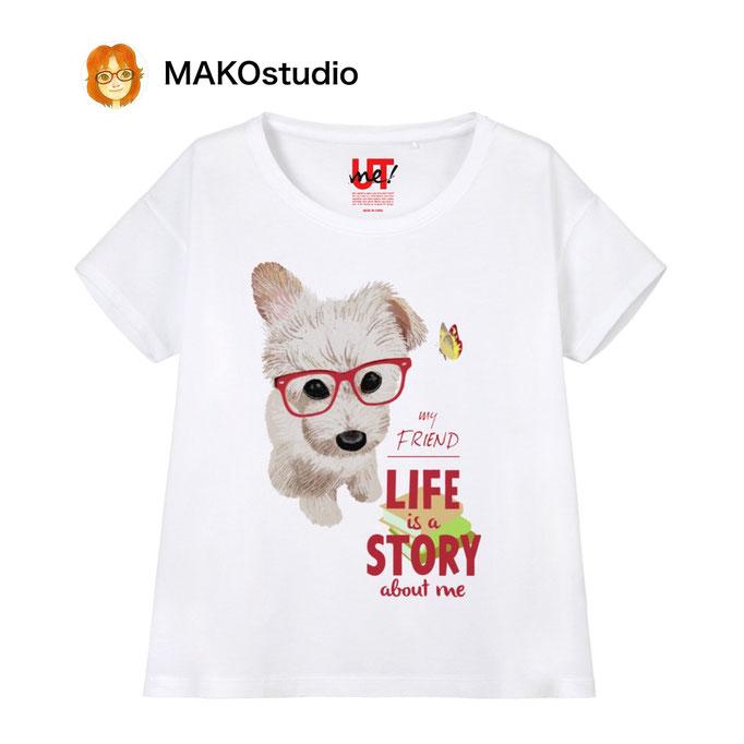 ユニクロUTme Tシャツ/サイズ、色が選べます。哲学するワンコ。