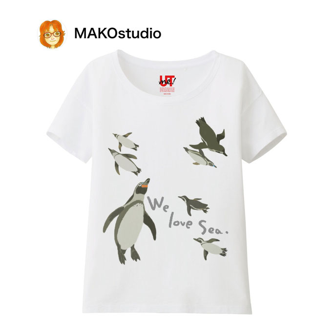 ユニクロUTme Tシャツ/サイズ、色が選べます。ペンギン親子。