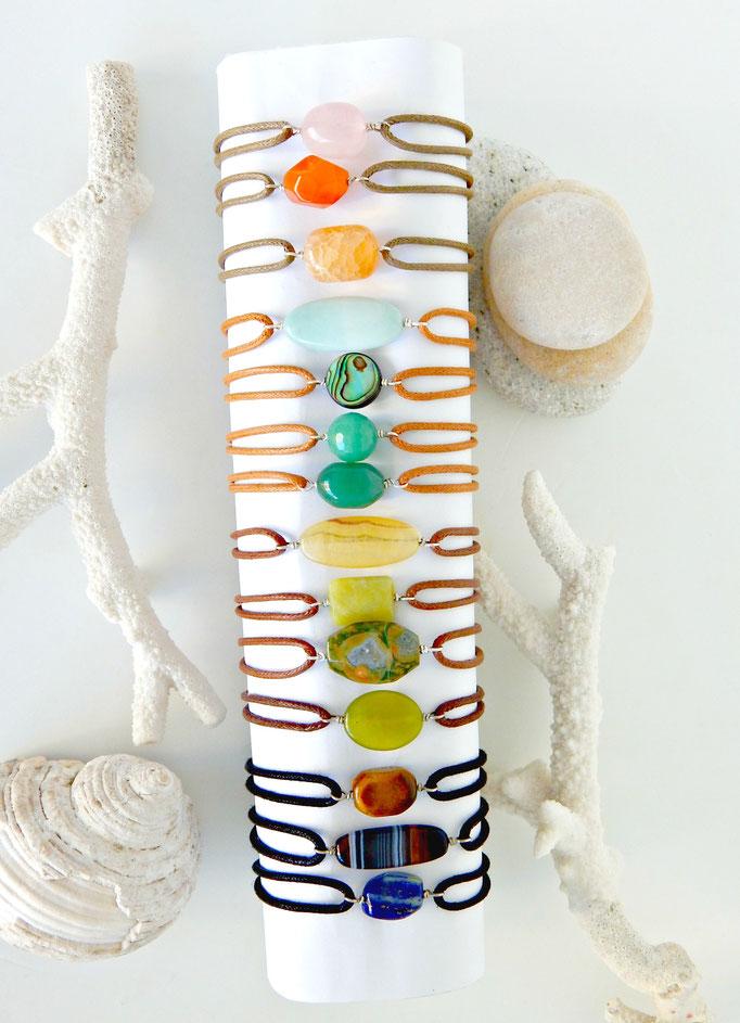 bracelets pierres naturelles sur argent et cordon ajustable