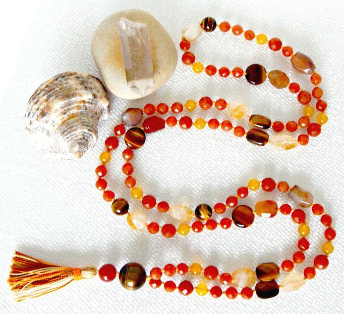 sautoir mala de méditation en pierres naturelles
