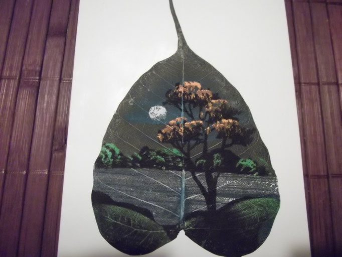 Baumlandschaft, gemalt auf dein Blatt / Indien