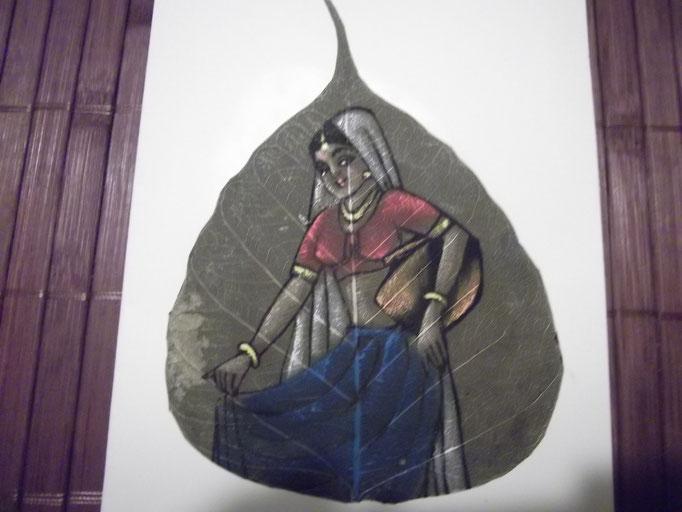 Indische Frau, gemalt auf ein Blatt