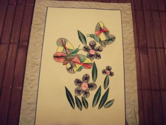 Blumen und Schmetterlinge, gestickt mit Fäden /Indien