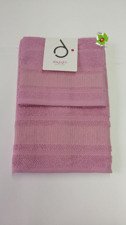 Set asciugamano 1+1 Day light/Dea Battaglia. Col. Lampone.Art.A581