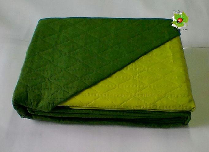 Trapuntino copriletto letto singolo Double Face Verde scuro/Verde Chiaro Art. A039 170x260cm disegno come foto