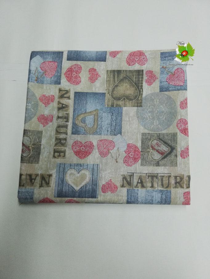 Scampolo tessuto di cotone Loneta a fantasia con cuori 280x280 cm. Col.Rosso. B271