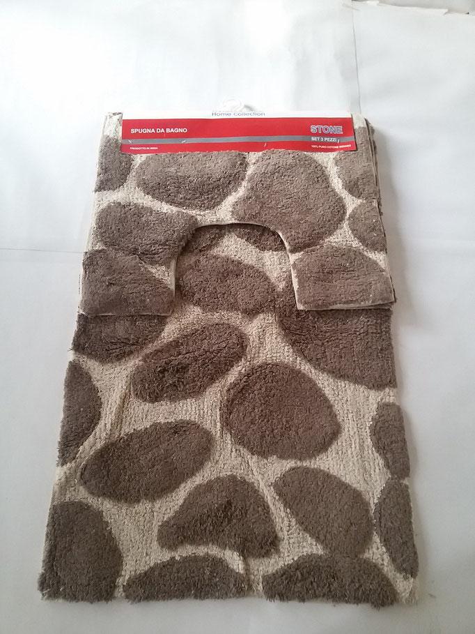 Parure tappeto bagno 3 pezzi in spugna di cotone Marrone/Panna Art.A261