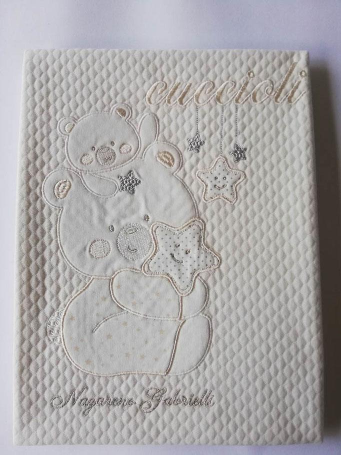 Copertina coperta culla passeggino neonato in piquet di puro cotone. Col.Panna. C041