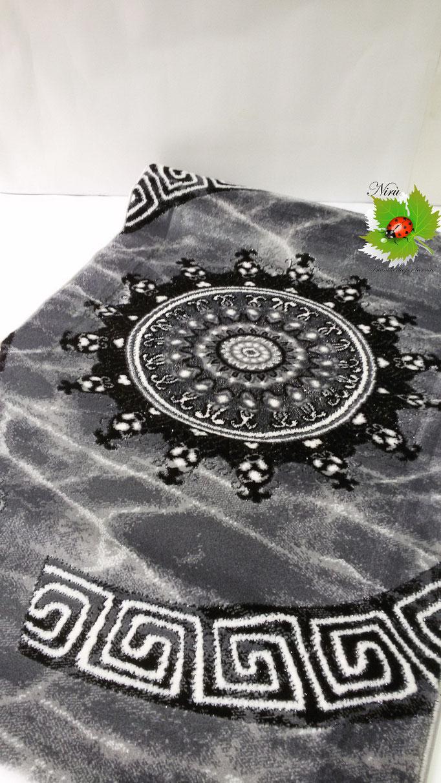 Set parure tappeto + scendiletto 3 pezzi rettangolare Lurex con disegno piazzato centrale. A929
