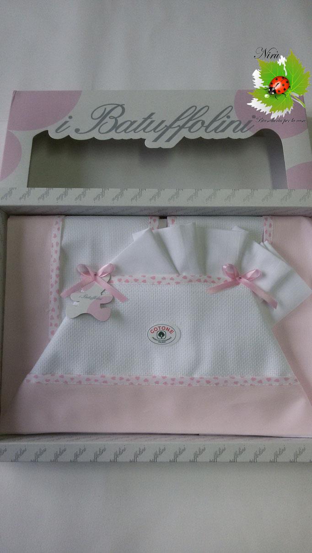 Completo lenzuola copriletto per lettino baby lettino culla Batuffolini con tela Aida 100% Cotone. Col.Rosa.A800