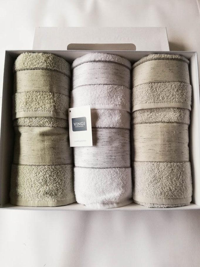 Set 3+3 asciugamani viso e ospite Vingi in spugna di cotone. B595